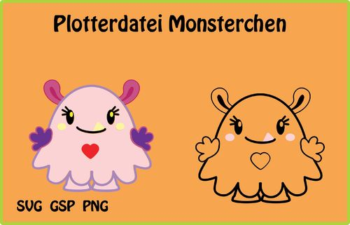 Plotterdatei Monsterchen, bunt + Umrandung svg, gsp, png